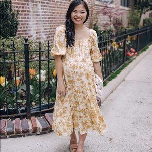 Yellow floral puff sleeve midi dress